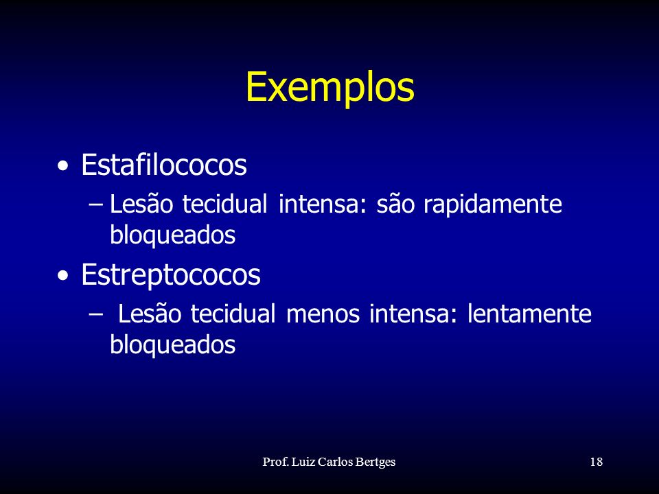 Prof. Luiz Carlos Bertges18 Exemplos Estafilococos –Lesão tecidual intensa: são rapidamente bloqueados Estreptococos – Lesão tecidual menos intensa: l