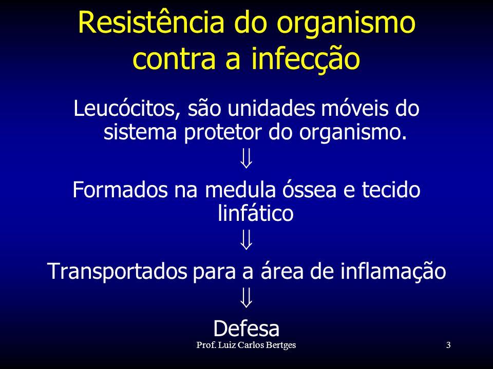 Prof. Luiz Carlos Bertges3 Resistência do organismo contra a infecção Leucócitos, são unidades móveis do sistema protetor do organismo. Formados na me