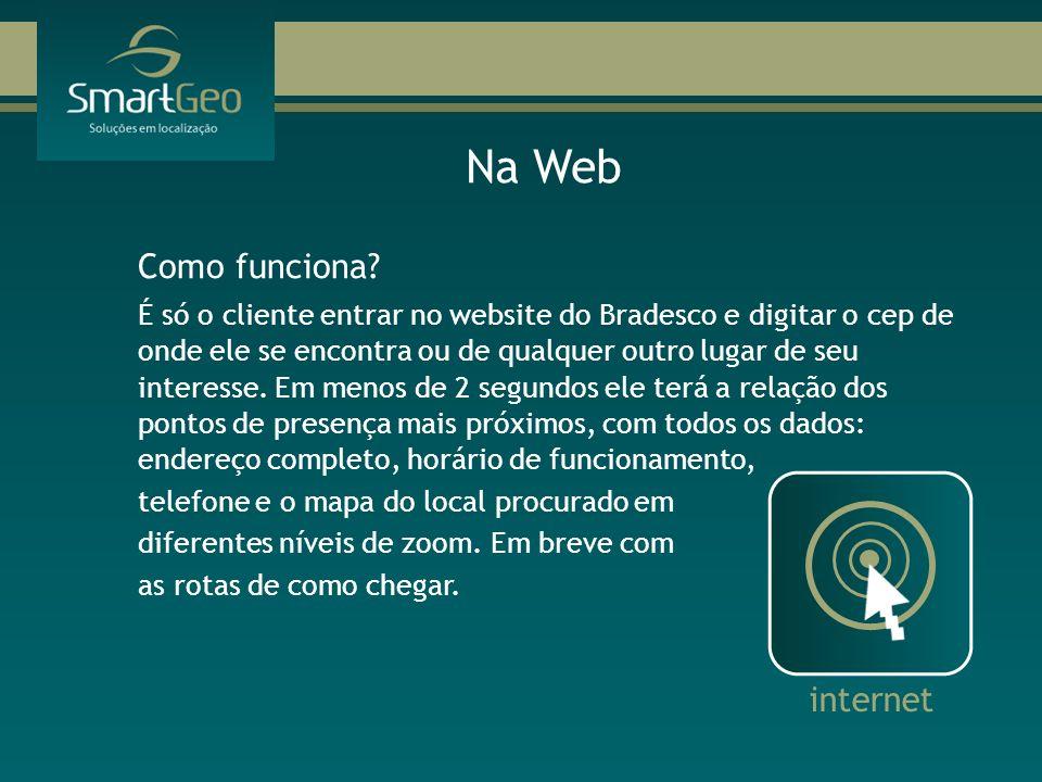 Como funciona? É só o cliente entrar no website do Bradesco e digitar o cep de onde ele se encontra ou de qualquer outro lugar de seu interesse. Em me
