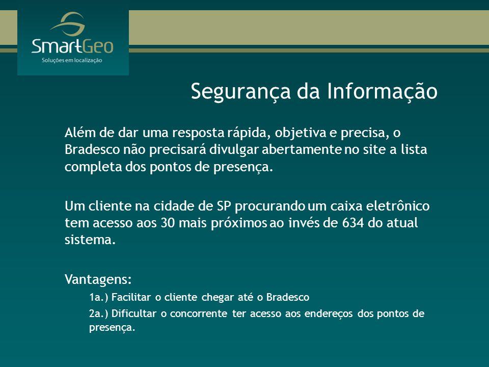 Segurança da Informação Além de dar uma resposta rápida, objetiva e precisa, o Bradesco não precisará divulgar abertamente no site a lista completa do