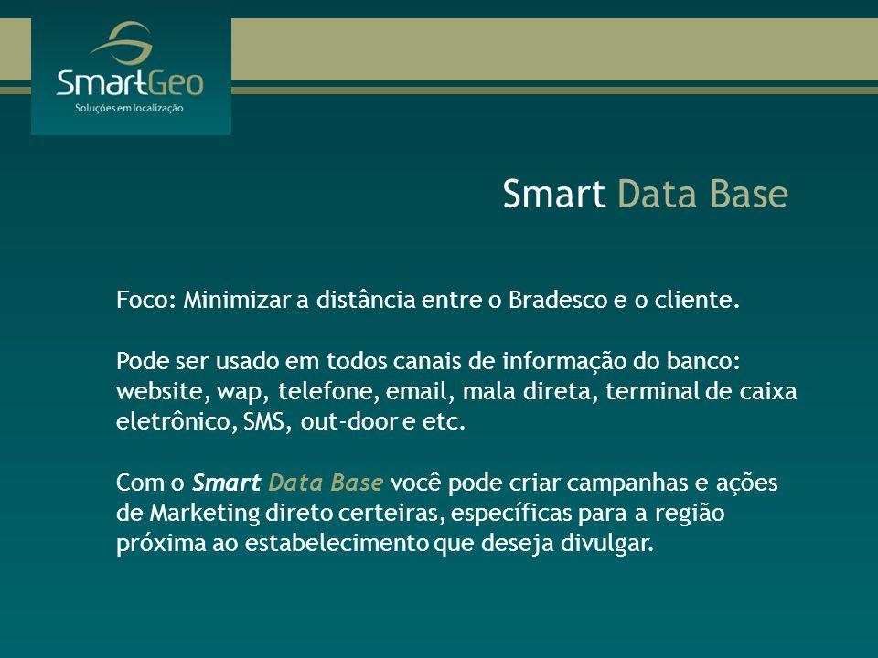 Smart Data Base Foco: Minimizar a distância entre o Bradesco e o cliente. Pode ser usado em todos canais de informação do banco: website, wap, telefon