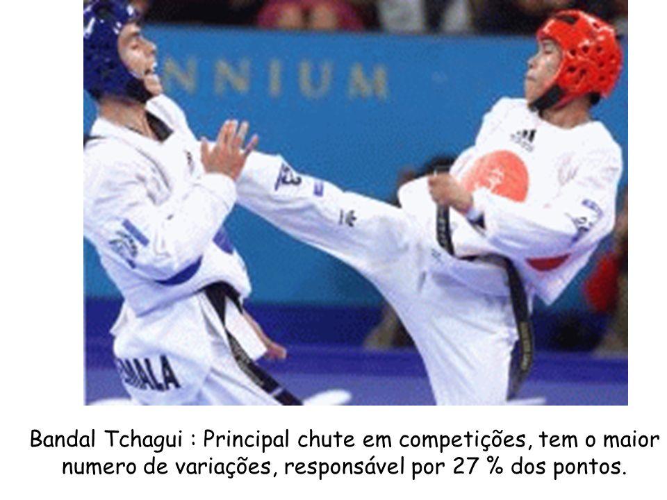 Bandal Tchagui : Principal chute em competições, tem o maior numero de variações, responsável por 27 % dos pontos.