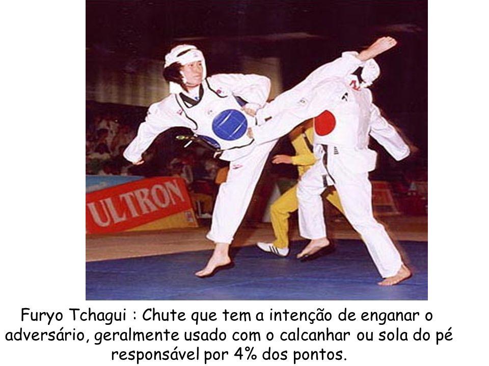 Furyo Tchagui : Chute que tem a intenção de enganar o adversário, geralmente usado com o calcanhar ou sola do pé responsável por 4% dos pontos.