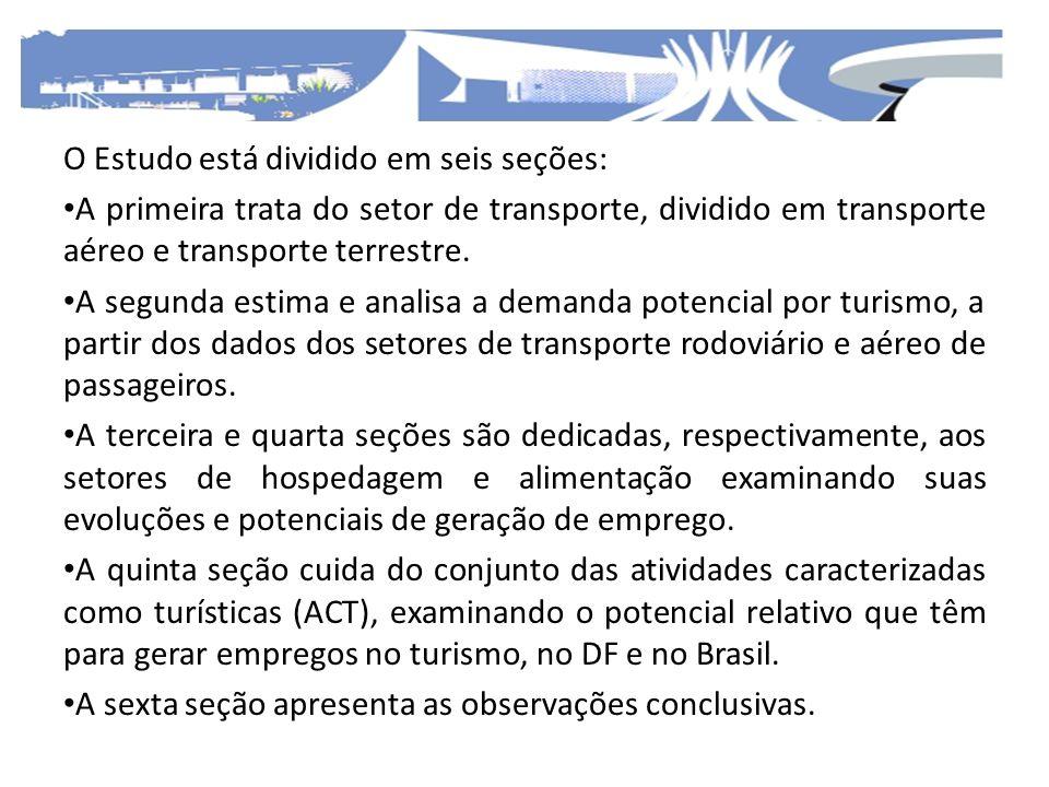 O Estudo está dividido em seis seções: A primeira trata do setor de transporte, dividido em transporte aéreo e transporte terrestre. A segunda estima