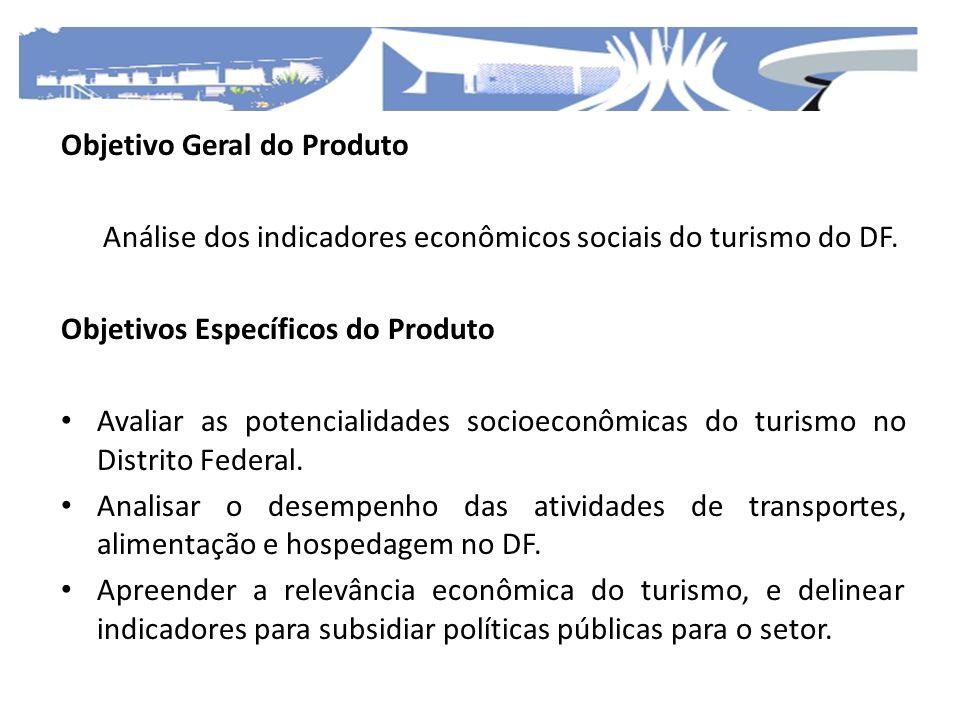 Objetivo Geral do Produto Análise dos indicadores econômicos sociais do turismo do DF. Objetivos Específicos do Produto Avaliar as potencialidades soc