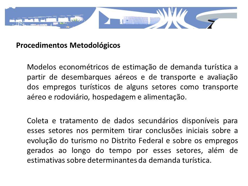 Procedimentos Metodológicos Modelos econométricos de estimação de demanda turística a partir de desembarques aéreos e de transporte e avaliação dos em