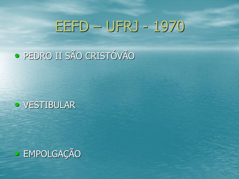 EEFD – UFRJ - 1970 PEDRO II SÃO CRISTÓVÃO PEDRO II SÃO CRISTÓVÃO VESTIBULAR VESTIBULAR EMPOLGAÇÃO EMPOLGAÇÃO