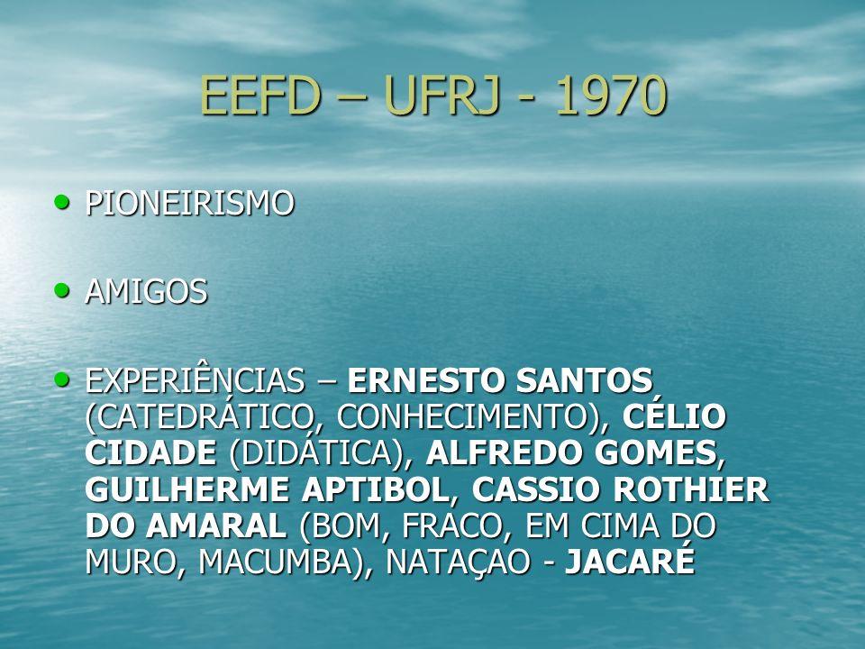 EEFD – UFRJ - 1970 PIONEIRISMO PIONEIRISMO AMIGOS AMIGOS EXPERIÊNCIAS – ERNESTO SANTOS (CATEDRÁTICO, CONHECIMENTO), CÉLIO CIDADE (DIDÁTICA), ALFREDO G
