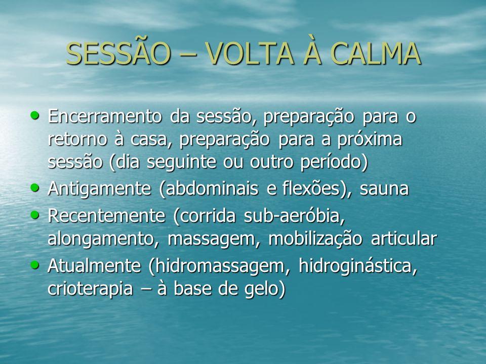 SESSÃO – VOLTA À CALMA Encerramento da sessão, preparação para o retorno à casa, preparação para a próxima sessão (dia seguinte ou outro período) Ence
