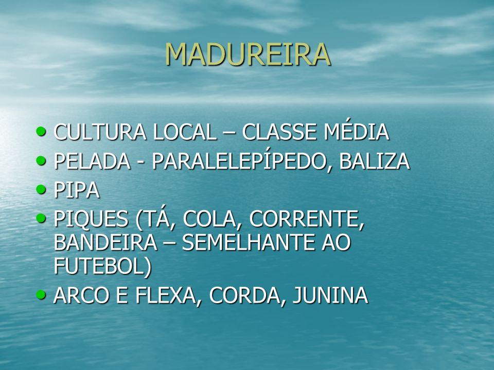 MADUREIRA CULTURA LOCAL – CLASSE MÉDIA CULTURA LOCAL – CLASSE MÉDIA PELADA - PARALELEPÍPEDO, BALIZA PELADA - PARALELEPÍPEDO, BALIZA PIPA PIPA PIQUES (