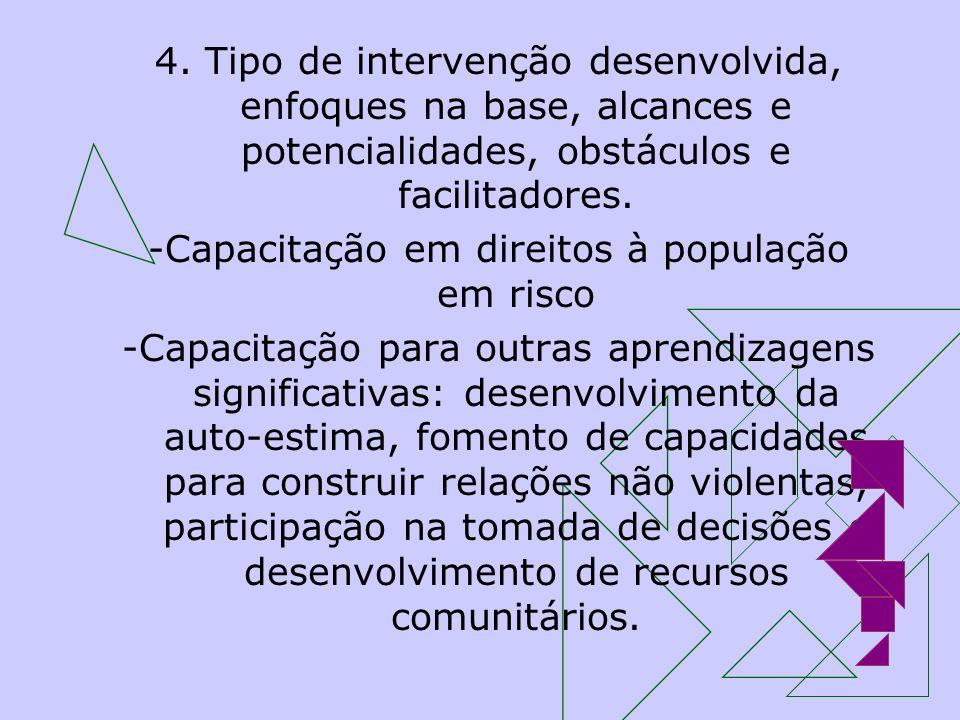 4. Tipo de intervenção desenvolvida, enfoques na base, alcances e potencialidades, obstáculos e facilitadores. -Capacitação em direitos à população em