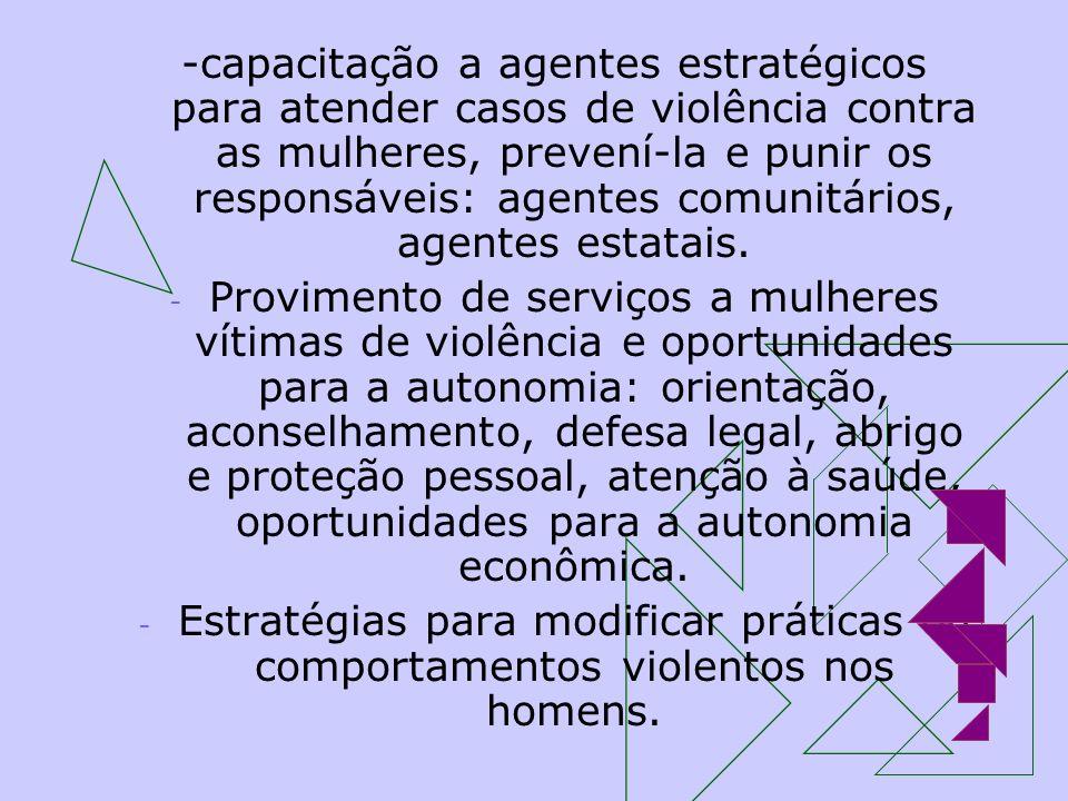 -capacitação a agentes estratégicos para atender casos de violência contra as mulheres, prevení-la e punir os responsáveis: agentes comunitários, agen