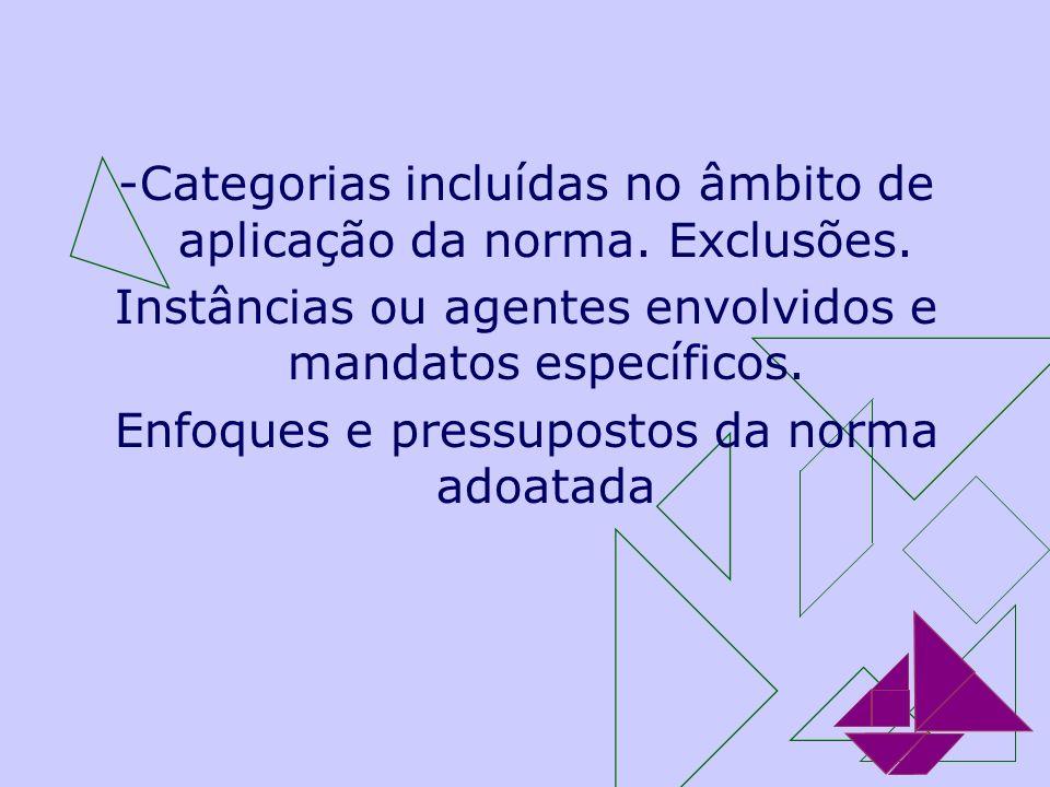 -Categorias incluídas no âmbito de aplicação da norma. Exclusões. Instâncias ou agentes envolvidos e mandatos específicos. Enfoques e pressupostos da