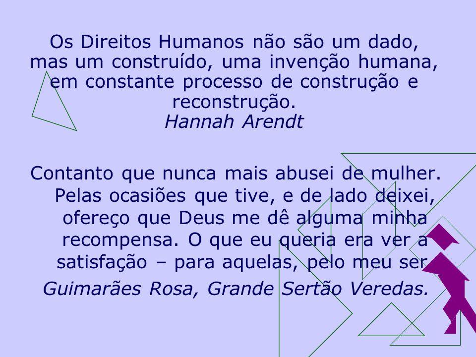 Os Direitos Humanos não são um dado, mas um construído, uma invenção humana, em constante processo de construção e reconstrução. Hannah Arendt Contant