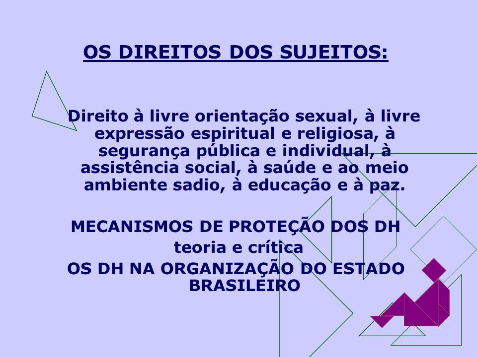 OS DIREITOS DOS SUJEITOS: Direito à livre orientação sexual, à livre expressão espiritual e religiosa, à segurança pública e individual, à assistência