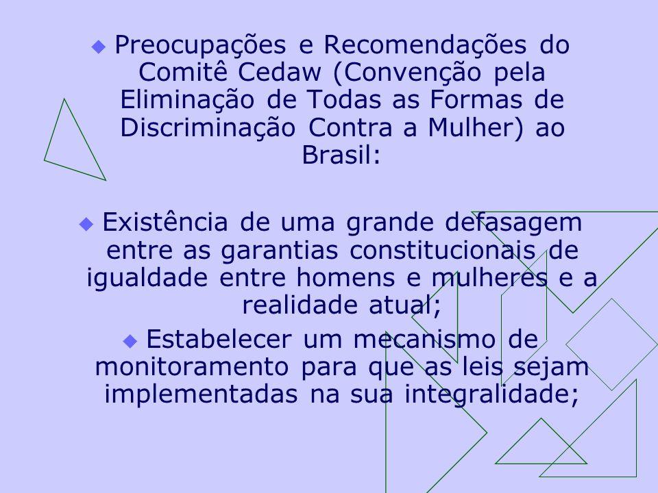 Preocupações e Recomendações do Comitê Cedaw (Convenção pela Eliminação de Todas as Formas de Discriminação Contra a Mulher) ao Brasil: Existência de