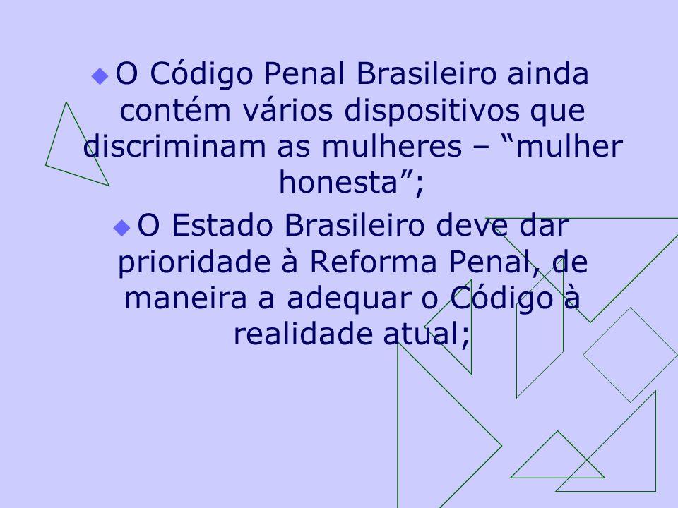 O Código Penal Brasileiro ainda contém vários dispositivos que discriminam as mulheres – mulher honesta; O Estado Brasileiro deve dar prioridade à Ref