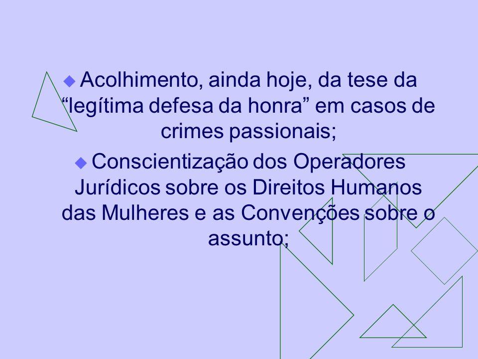 Acolhimento, ainda hoje, da tese da legítima defesa da honra em casos de crimes passionais; Conscientização dos Operadores Jurídicos sobre os Direitos