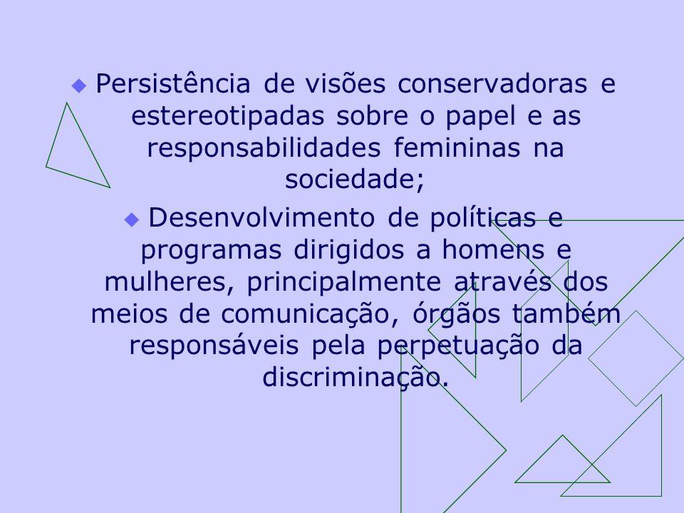 Persistência de visões conservadoras e estereotipadas sobre o papel e as responsabilidades femininas na sociedade; Desenvolvimento de políticas e prog