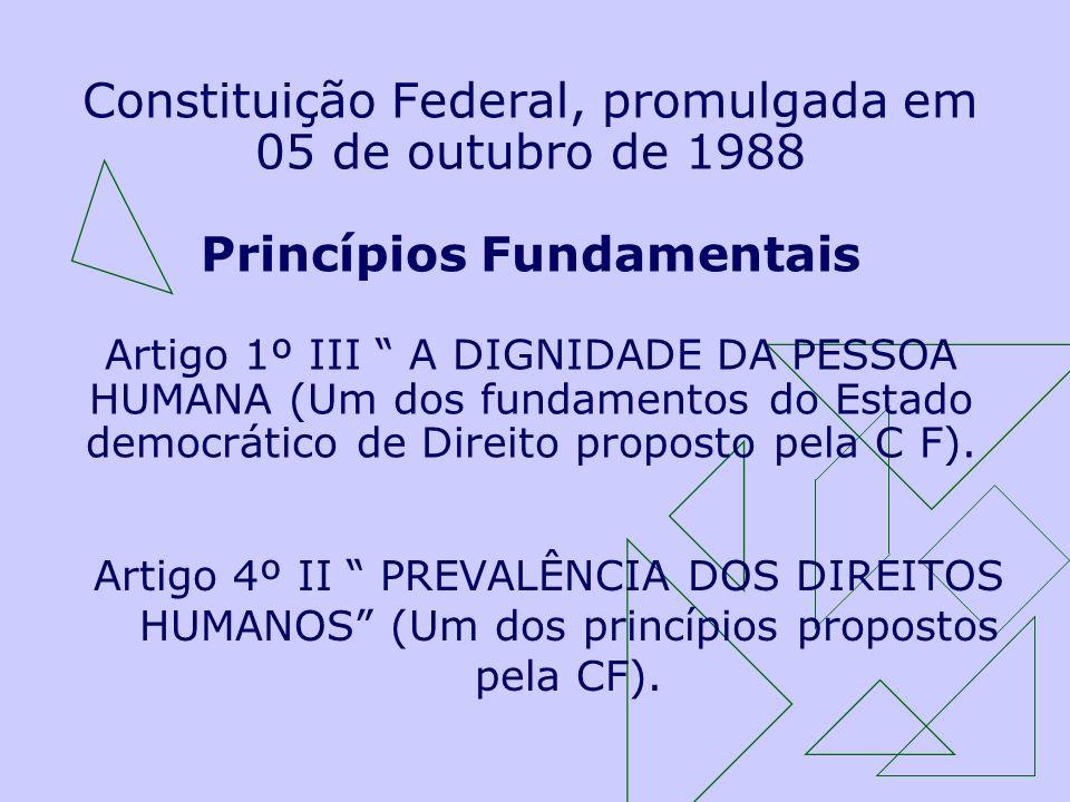 Constituição Federal, promulgada em 05 de outubro de 1988 Princípios Fundamentais Artigo 1º III A DIGNIDADE DA PESSOA HUMANA (Um dos fundamentos do Es