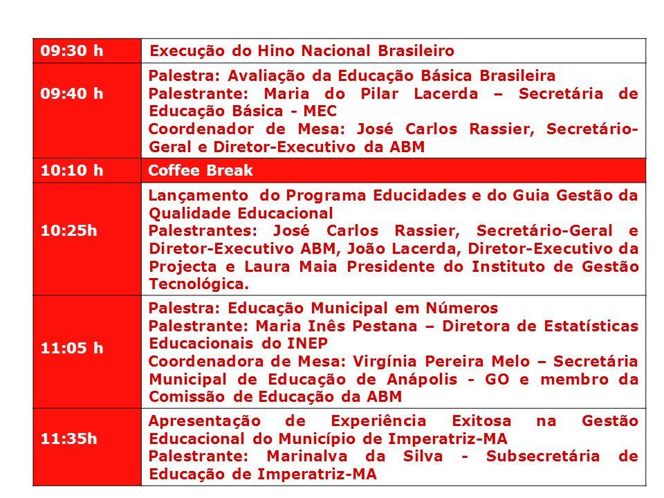 09:30 h Execução do Hino Nacional Brasileiro 09:40 h Palestra: Avaliação da Educação Básica Brasileira Palestrante: Maria do Pilar Lacerda – Secretári