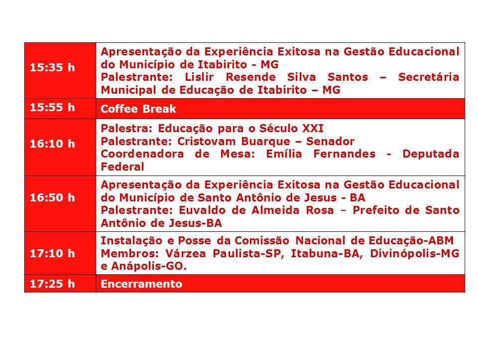 15:35 h Apresentação da Experiência Exitosa na Gestão Educacional do Município de Itabirito - MG Palestrante: Lislir Resende Silva Santos – Secretária