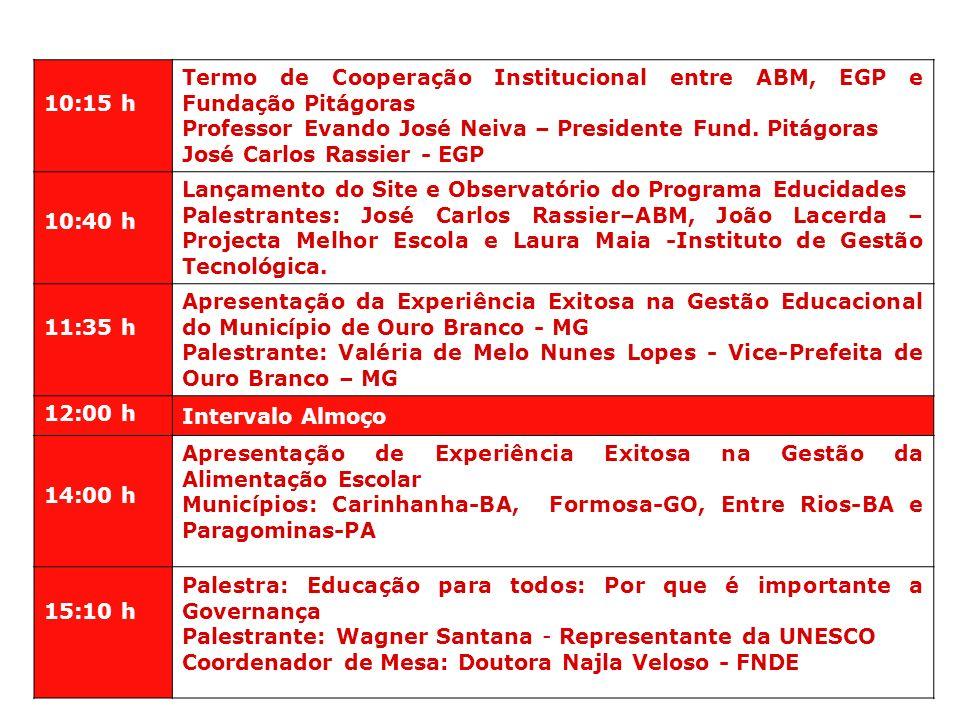 10:15 h Termo de Cooperação Institucional entre ABM, EGP e Fundação Pitágoras Professor Evando José Neiva – Presidente Fund. Pitágoras José Carlos Ras