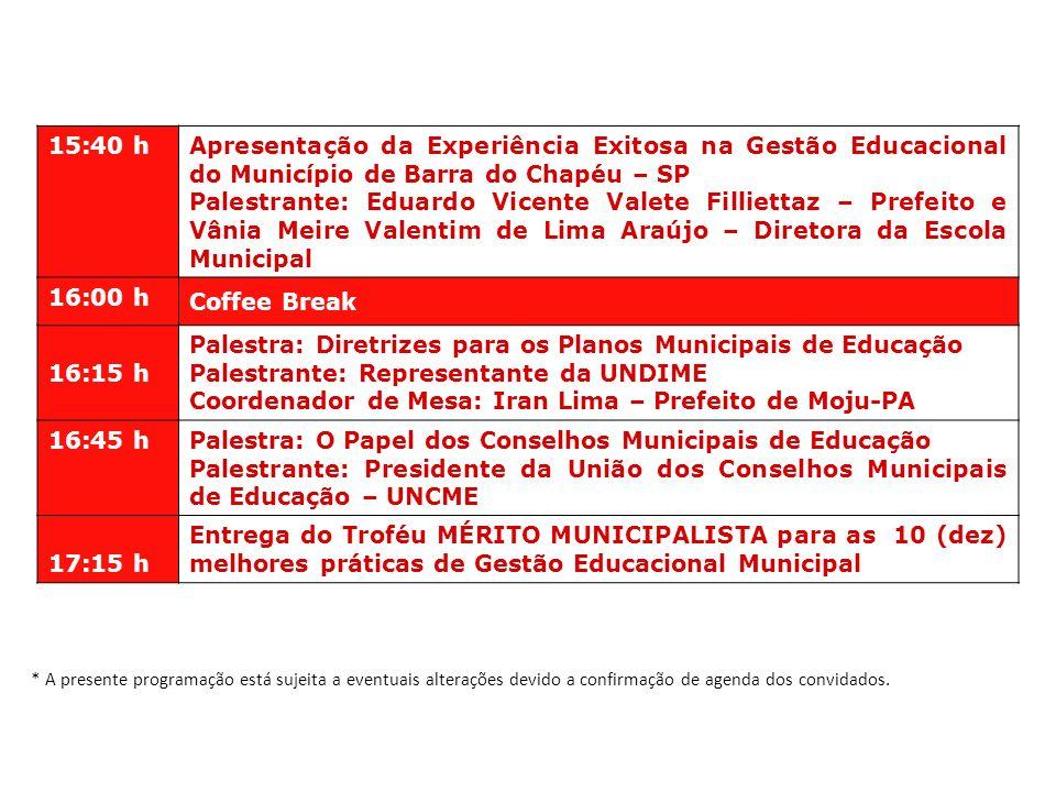 15:40 h Apresentação da Experiência Exitosa na Gestão Educacional do Município de Barra do Chapéu – SP Palestrante: Eduardo Vicente Valete Filliettaz