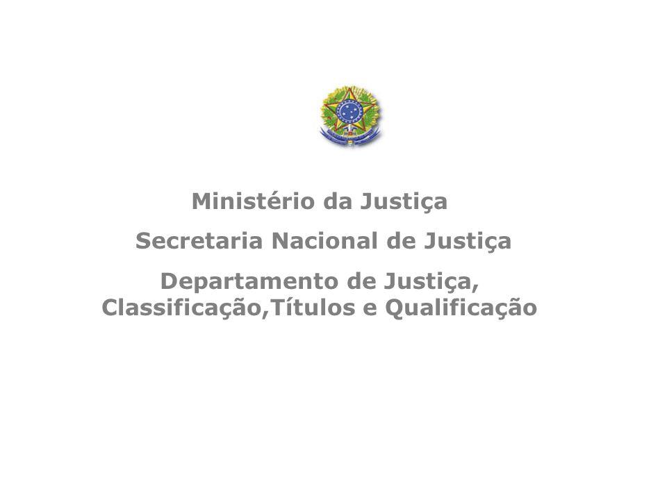 Ministério da Justiça Secretaria Nacional de Justiça Departamento de Justiça, Classificação,Títulos e Qualificação