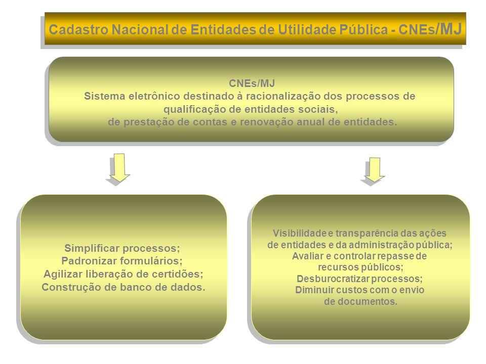 CNEs/MJ Sistema eletrônico destinado à racionalização dos processos de qualificação de entidades sociais, de prestação de contas e renovação anual de