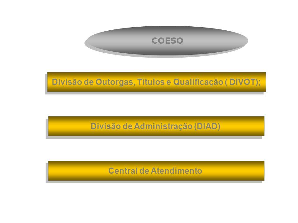 Divisão de Outorgas, Títulos e Qualificação ( DIVOT); Divisão de Administração (DIAD) Central de Atendimento