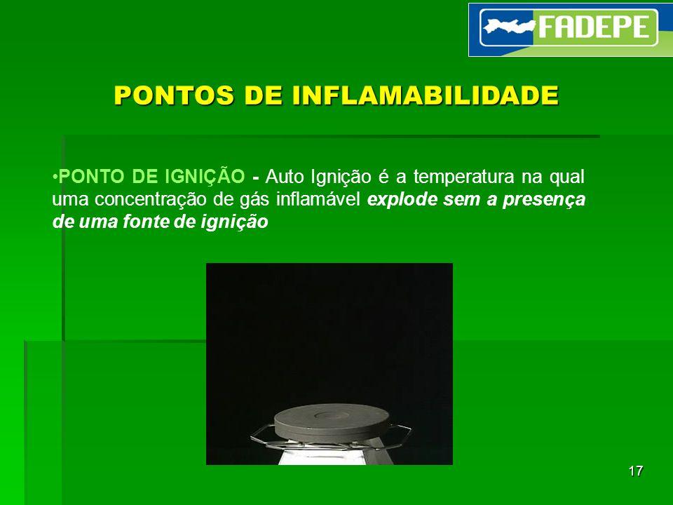 17 PONTOS DE INFLAMABILIDADE PONTO DE IGNIÇÃO - Auto Ignição é a temperatura na qual uma concentração de gás inflamável explode sem a presença de uma