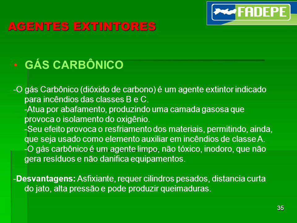 35 AGENTES EXTINTORES GÁS CARBÔNICO -O gás Carbônico (dióxido de carbono) é um agente extintor indicado para incêndios das classes B e C. -Atua por ab
