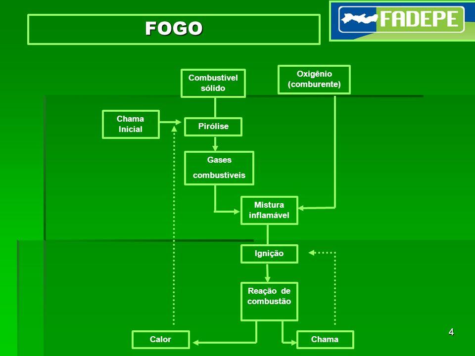 4 FOGO Chama Inicial Combustível sólido Oxigênio (comburente) Gases combustíveis Mistura inflamável Reação de combustão CalorChama Pirólise Ignição