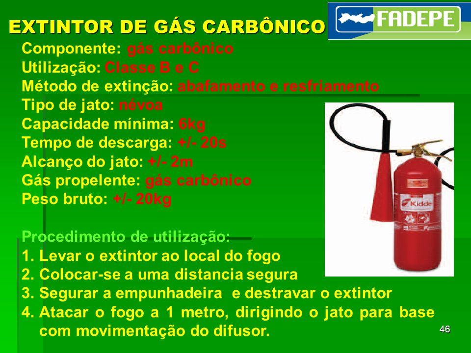 46 EXTINTOR DE GÁS CARBÔNICO Componente: gás carbônico Utilização: Classe B e C Método de extinção: abafamento e resfriamento Tipo de jato: névoa Capa
