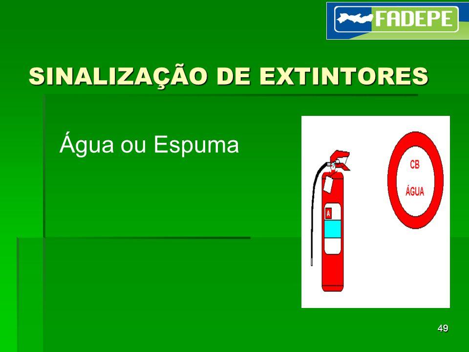 49 SINALIZAÇÃO DE EXTINTORES Água ou Espuma