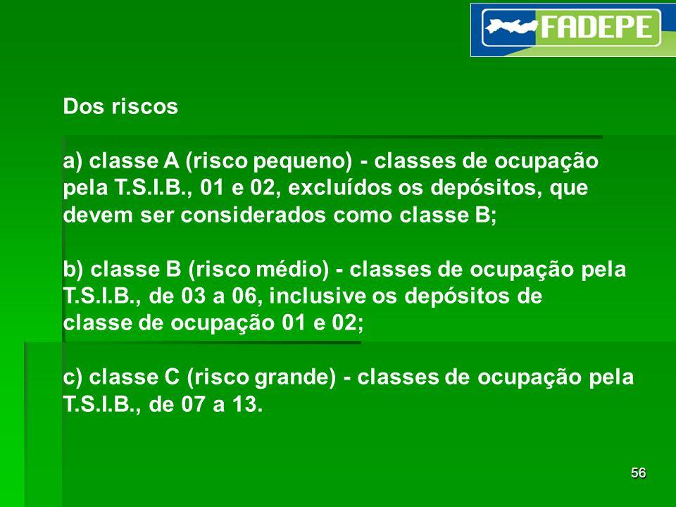 56 Dos riscos a) classe A (risco pequeno) - classes de ocupação pela T.S.I.B., 01 e 02, excluídos os depósitos, que devem ser considerados como classe
