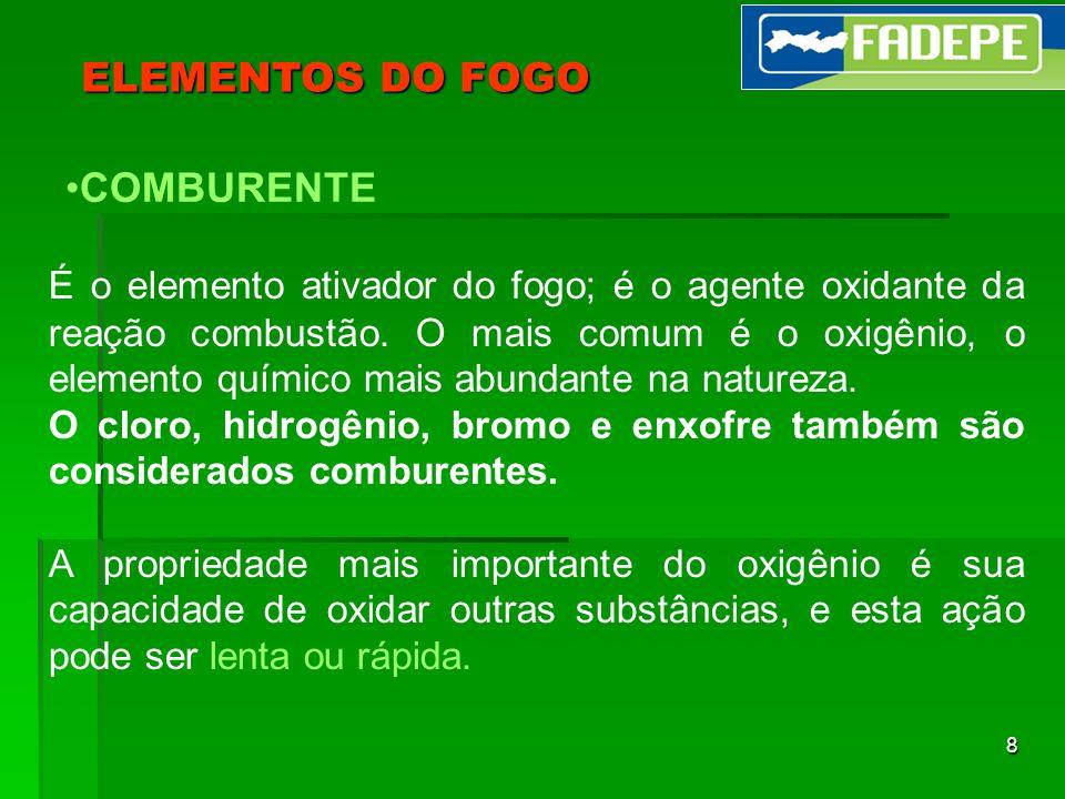 8 ELEMENTOS DO FOGO COMBURENTE É o elemento ativador do fogo; é o agente oxidante da reação combustão. O mais comum é o oxigênio, o elemento químico m