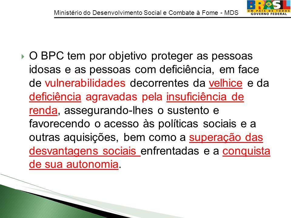 Ministério do Desenvolvimento Social e Combate à Fome - MDS O BPC tem por objetivo proteger as pessoas idosas e as pessoas com deficiência, em face de