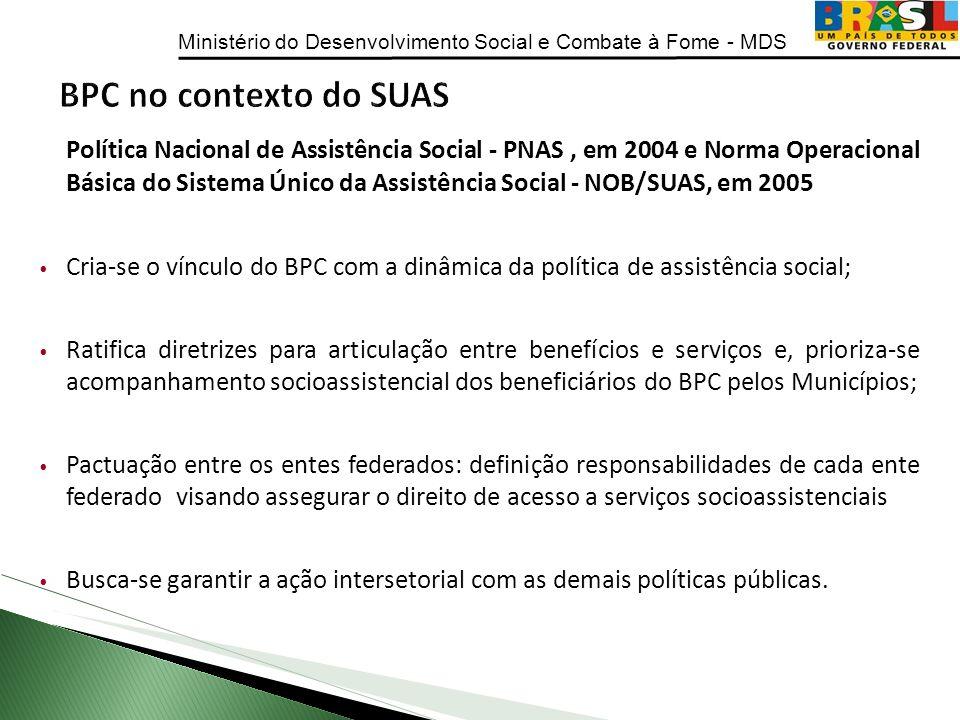 Ministério do Desenvolvimento Social e Combate à Fome - MDS Política Nacional de Assistência Social - PNAS, em 2004 e Norma Operacional Básica do Sist