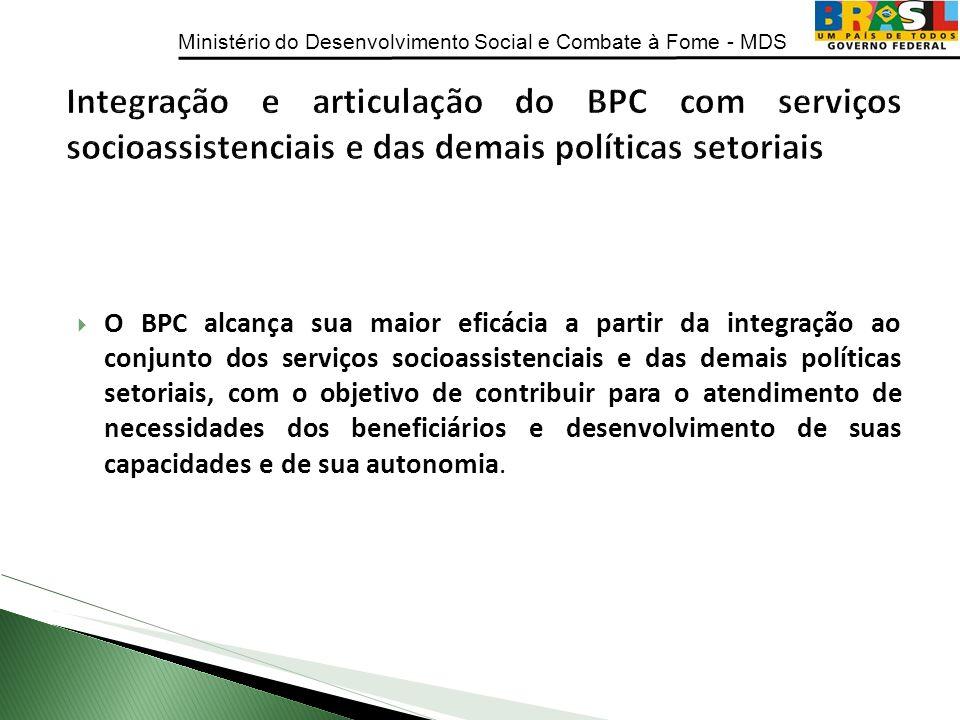 Ministério do Desenvolvimento Social e Combate à Fome - MDS O BPC alcança sua maior eficácia a partir da integração ao conjunto dos serviços socioassi