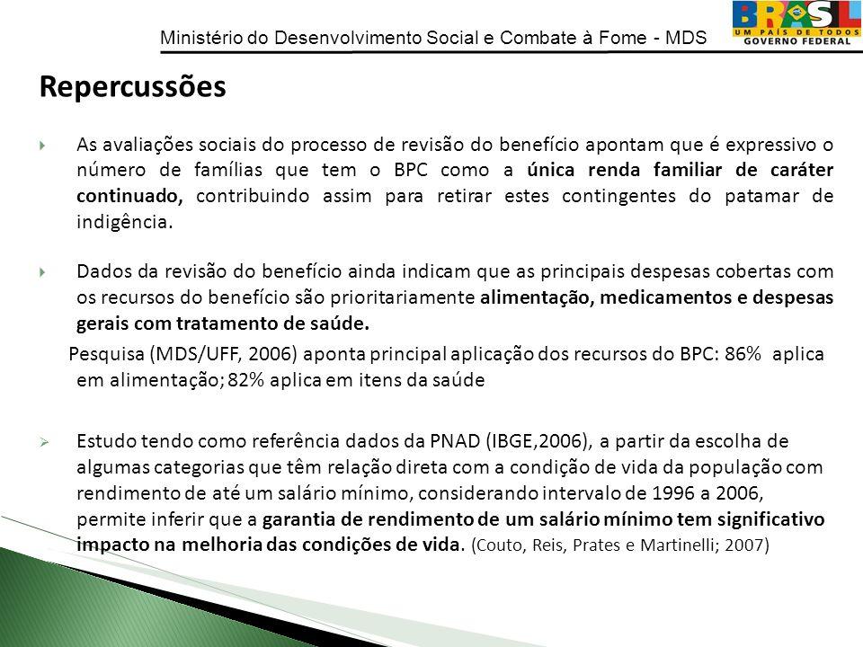 Ministério do Desenvolvimento Social e Combate à Fome - MDS Repercussões As avaliações sociais do processo de revisão do benefício apontam que é expre