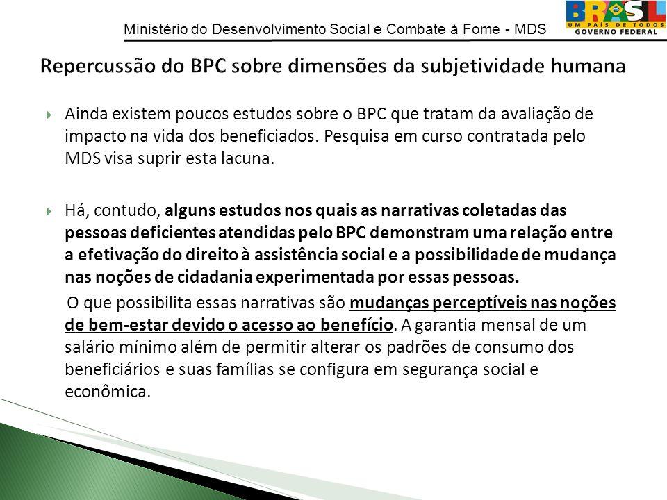 Ministério do Desenvolvimento Social e Combate à Fome - MDS Ainda existem poucos estudos sobre o BPC que tratam da avaliação de impacto na vida dos be