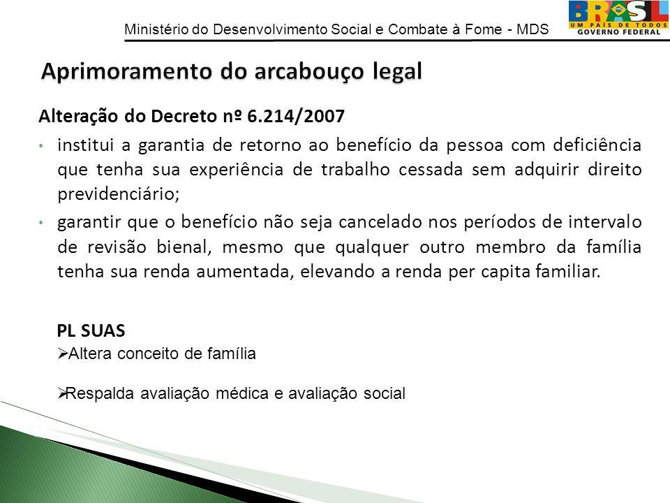 Ministério do Desenvolvimento Social e Combate à Fome - MDS Alteração do Decreto nº 6.214/2007 institui a garantia de retorno ao benefício da pessoa c