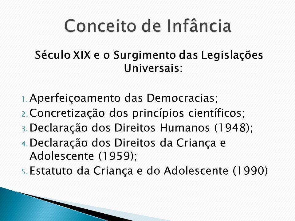 Século XIX e o Surgimento das Legislações Universais: 1. Aperfeiçoamento das Democracias; 2. Concretização dos princípios científicos; 3. Declaração d