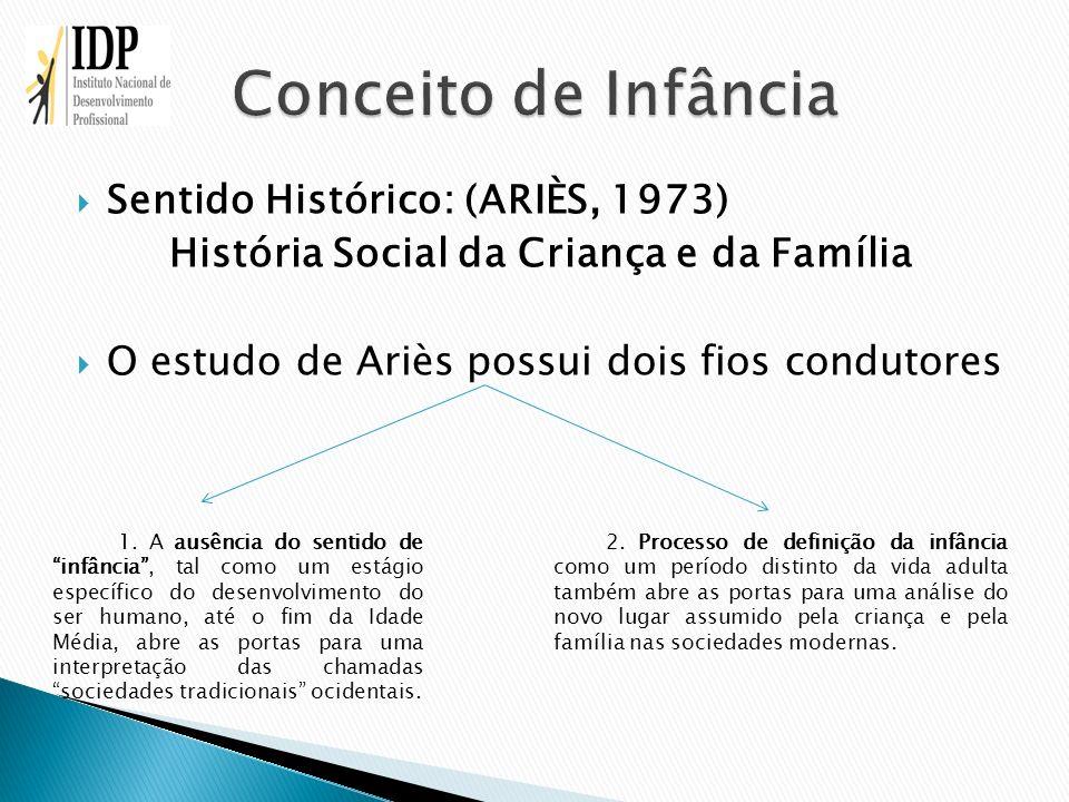 Sentido Histórico: (ARIÈS, 1973) História Social da Criança e da Família O estudo de Ariès possui dois fios condutores 1. A ausência do sentido de inf