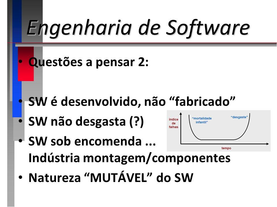 Engenharia de Software Como desenvolver software? Enfoque ARTESANAL (informal) Enfoque ENGENHARIA