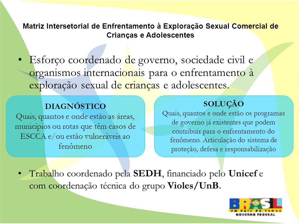 Esforço coordenado de governo, sociedade civil e organismos internacionais para o enfrentamento à exploração sexual de crianças e adolescentes. Trabal