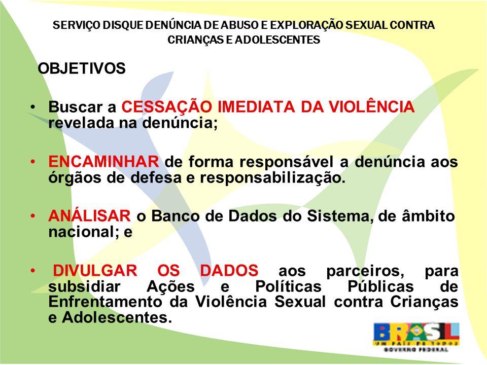 Buscar a CESSAÇÃO IMEDIATA DA VIOLÊNCIA revelada na denúncia; ENCAMINHAR de forma responsável a denúncia aos órgãos de defesa e responsabilização. ANÁ