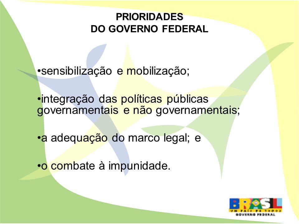sensibilização e mobilização; integração das políticas públicas governamentais e não governamentais; a adequação do marco legal; e o combate à impunid